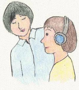 補聴器を調整するため、聴力を測定します